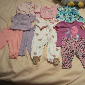 Assortment of 0-6 Month Girls cloths +bib (9pcs)